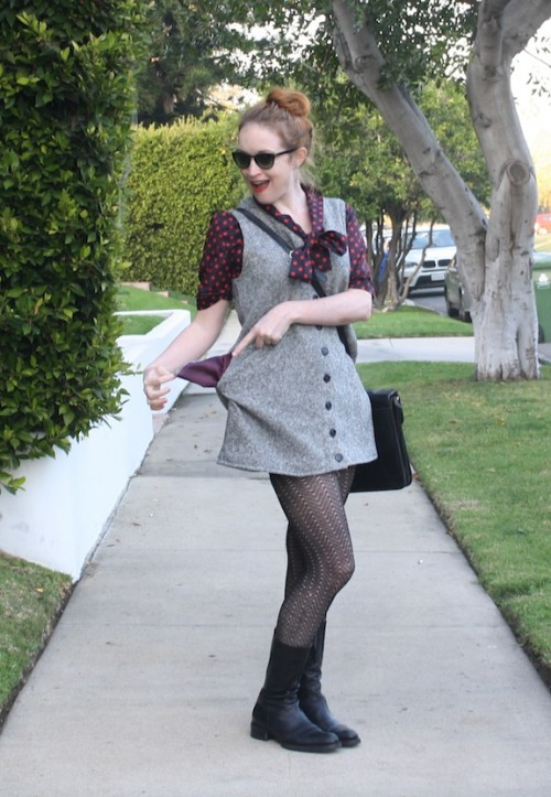 New Dress A Day - DIY - Vintage tweed dress - Goodwill