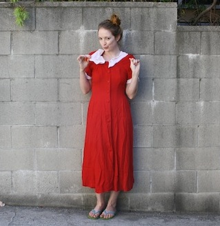 Vintage red and white collar dress - New Dress A Day