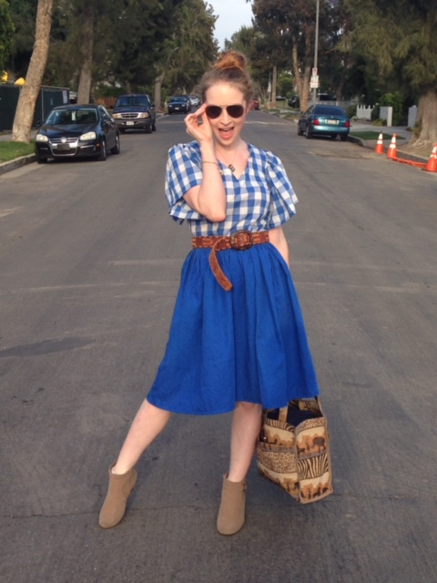 Vintage Blue Checkered Dress