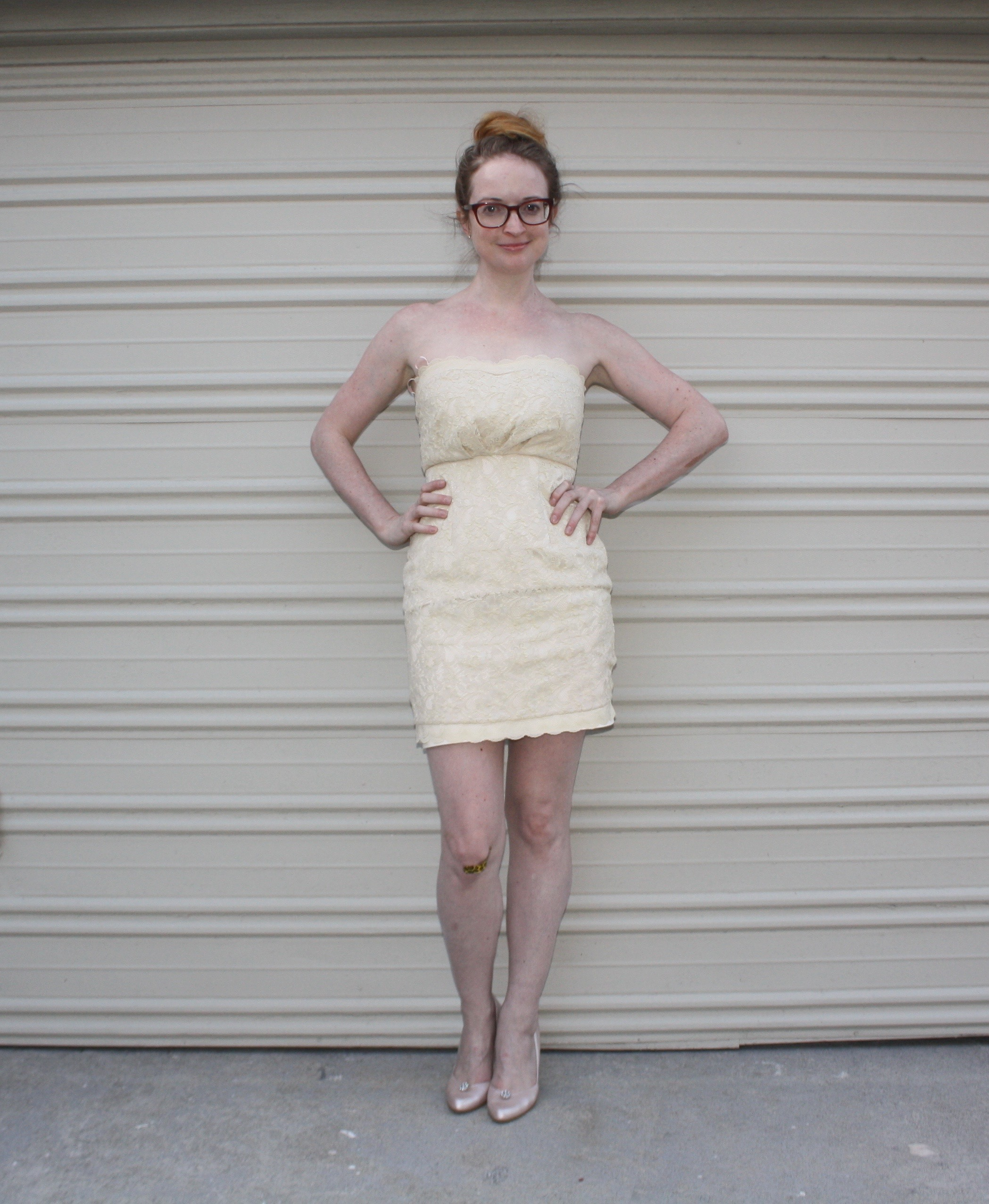 Remake: White Strapless Lace Dress — New Dress A Day