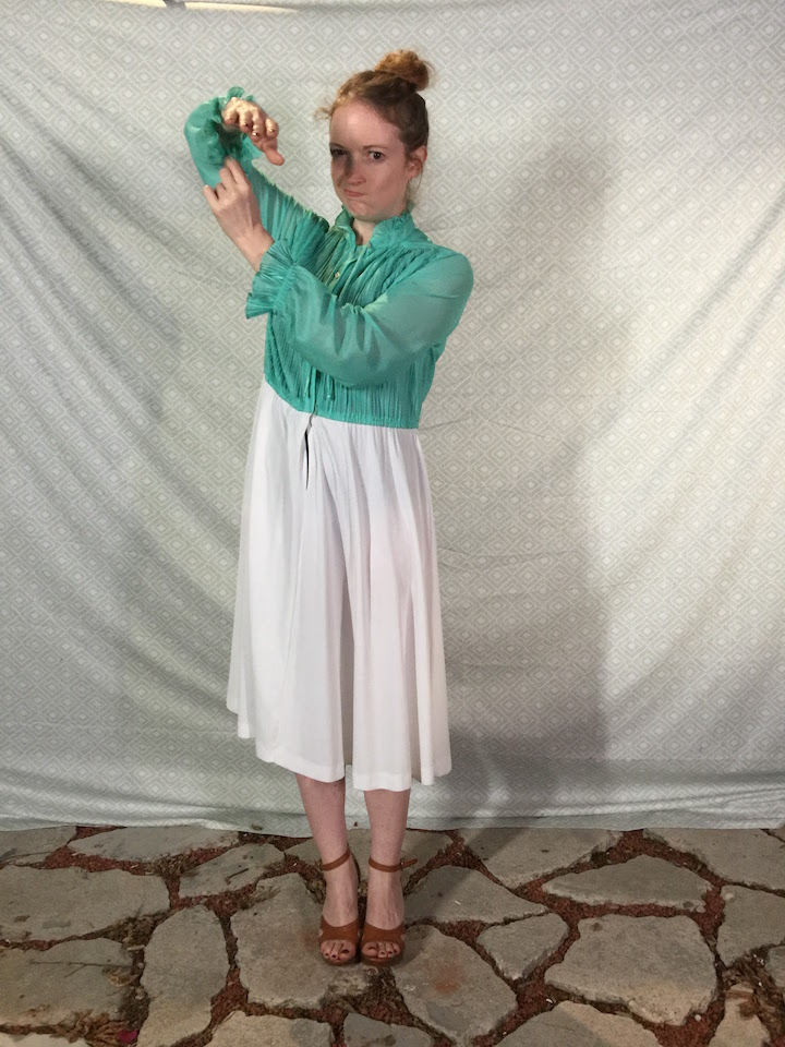 Vintage mint & white dress 2