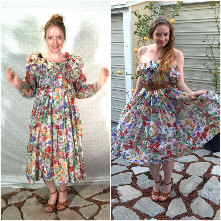 Vintage Ruffle Floral Dress Before & After
