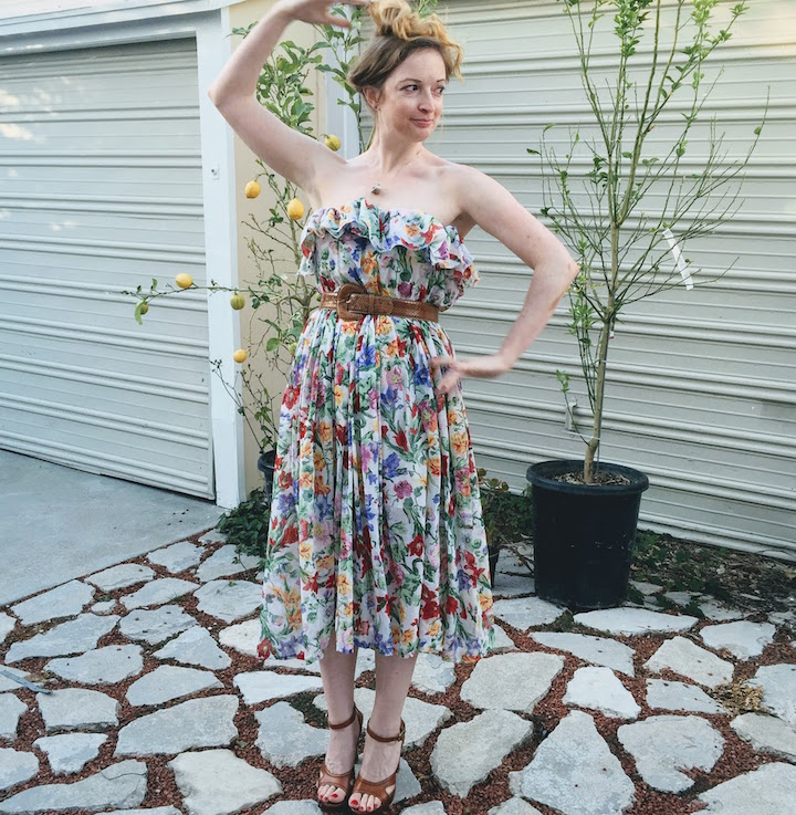 Vintage Floral Ruffle Dress - 18