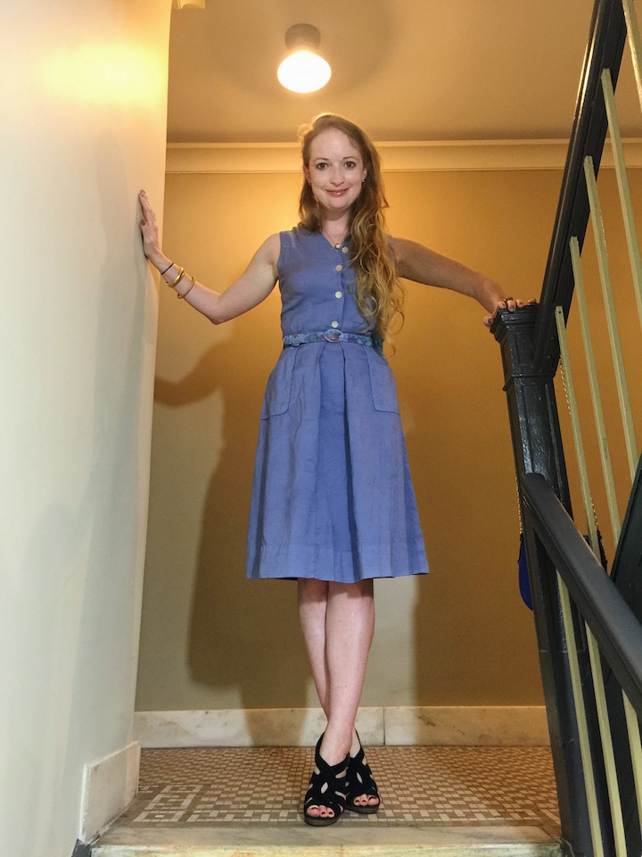 Vintage Blue Button Down Dress