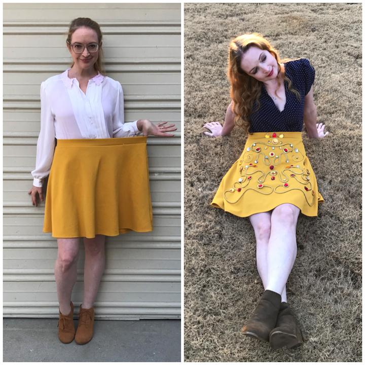 Before/After DIY NYE Rhinestone Skirt (a la Dolce & Gabbana)