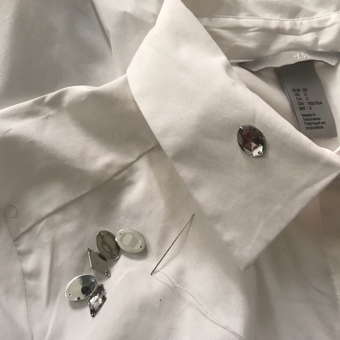White Collar Shirt with Rhinestones