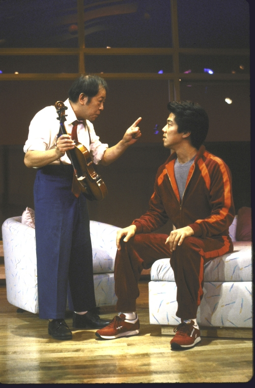 Actors (L-R) Victor Wong and Marc Hayashi. Photo by Martha Swope for the New York Shakespeare Festival, Courtesy NYPL