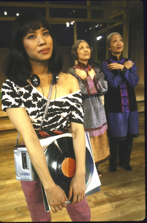Actresses (L-R) Lauren Tom, June Kim and Tina Chen. Photo by Martha Swope for the New York Shakespeare Festival, Courtesy NYPL