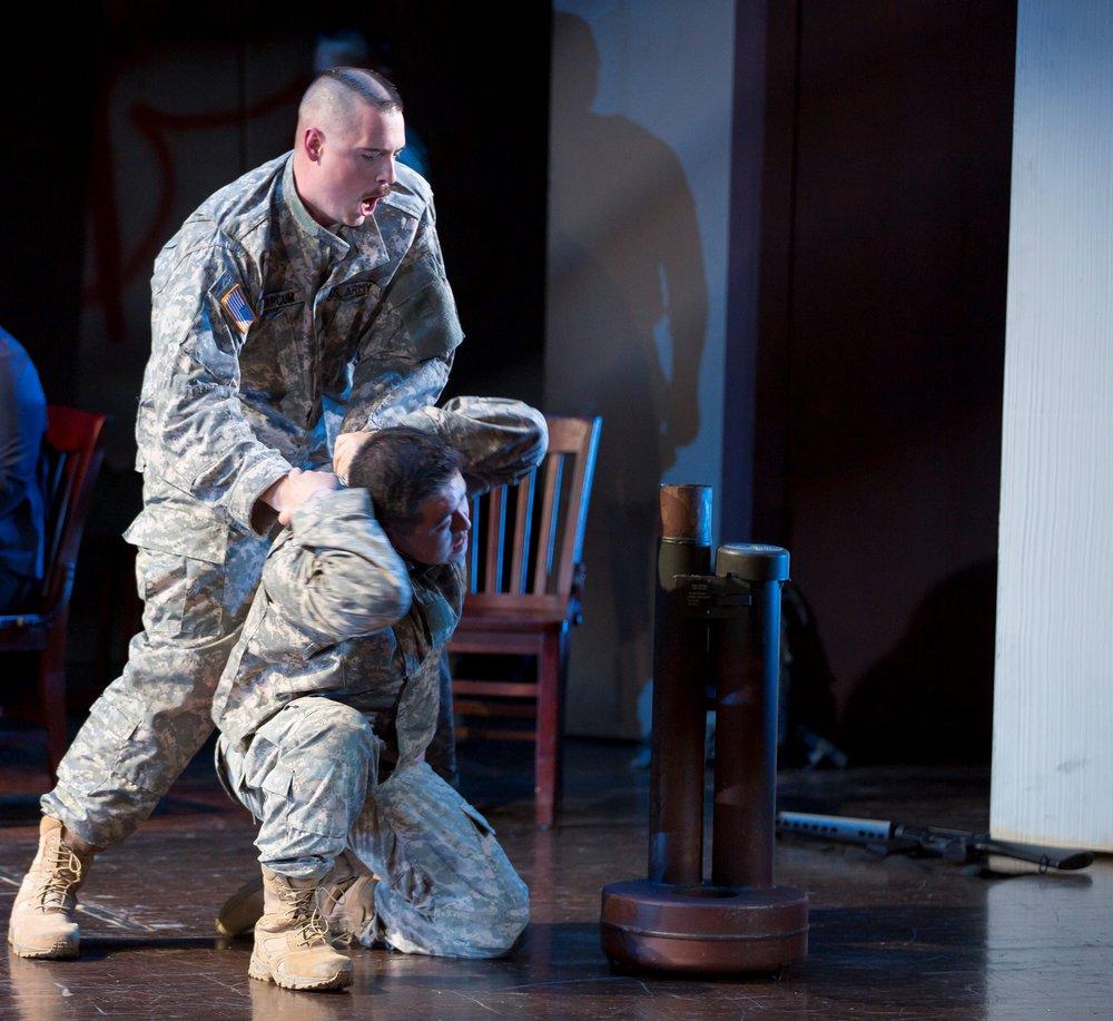 Trevor Scheunemann as Sgt. Marcum and Andrew Stenson as Danny Chen. Photo by Scott Suchman for the Washington National Opera, 2015