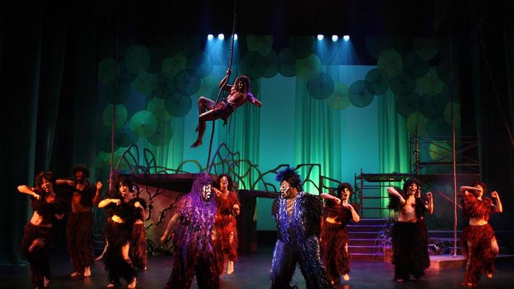 "The cast of Slow Burn Theatre's ""Tarzan The Stage Musical"" in the Amaturo Theater at the Broward Center for the Performing Arts in Fort Lauderdale, performing from through Nov. 5.   (Rodrigo Balfanz/Courtesy)"