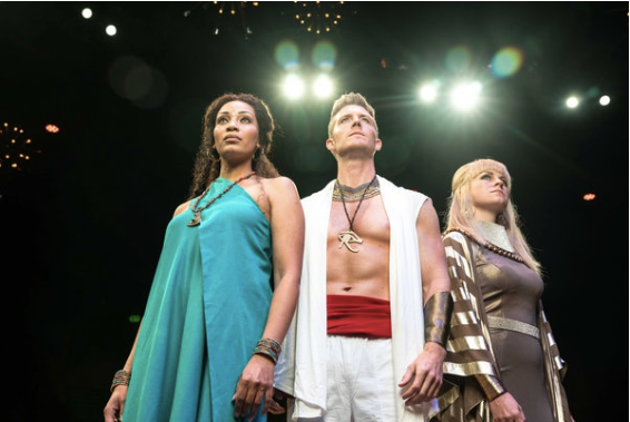 "Courtesy photo) Kandyce Marie as Aida, Casey Elliott as Radames, and Amy Shreeve Keeler as Amneris in Hale Centre Theatre's new production of ""Aida."""