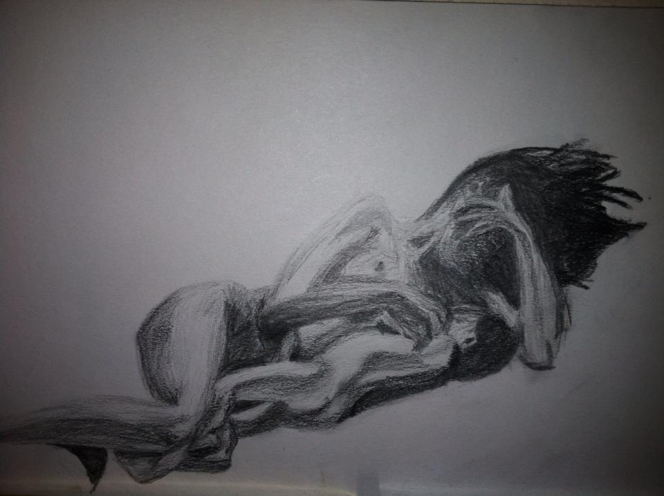 woman breastfeeding charcoal drawing