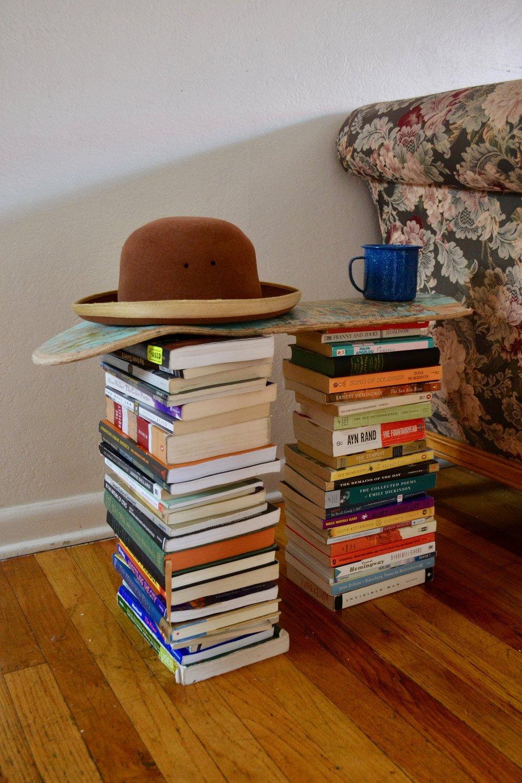 bookshelf paraguayan hat tin cup