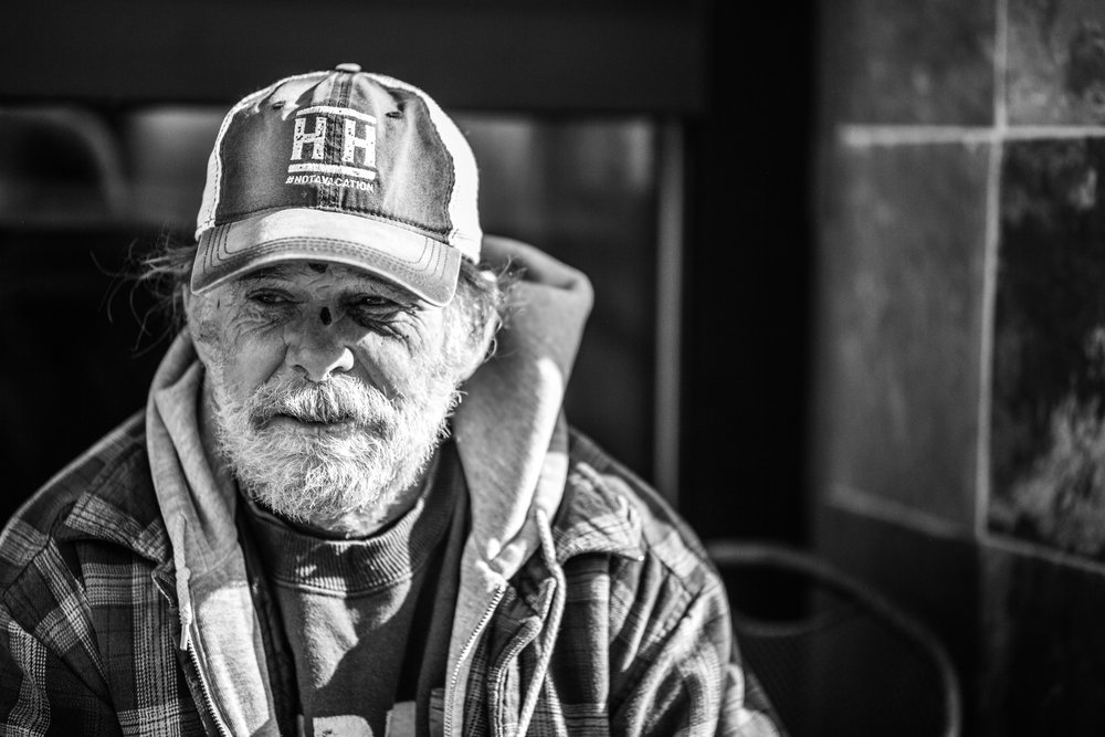 Portrait photography homeless man