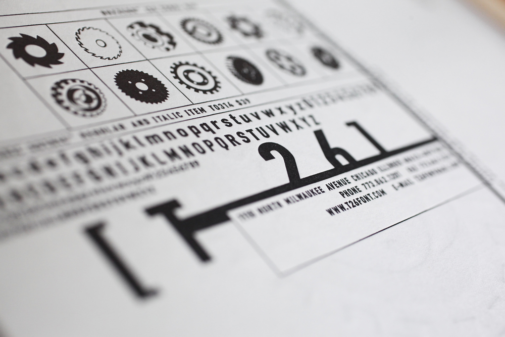 T26 Type Foundry boxset, Buzz postcard detail.