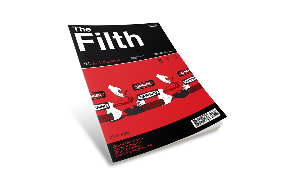 "Filth comic book cover #4. ""Shit Happens""."