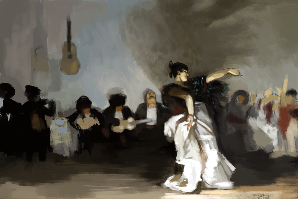 Speed paint master study: Most of the picture has been roughed in, I go in afterwards and paint over the basic shapes to refine the image. The only area where I chose to work in some detail is the dancer's head and her right arm. Sargent's brush strokes are very loose and yet he manage's to capture incredible detail and nuance.