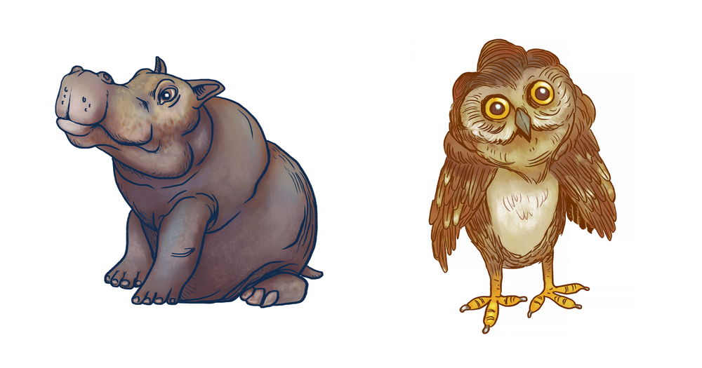 I applied the same process to this cute hippo called Jorge and this owl called Hugh :)