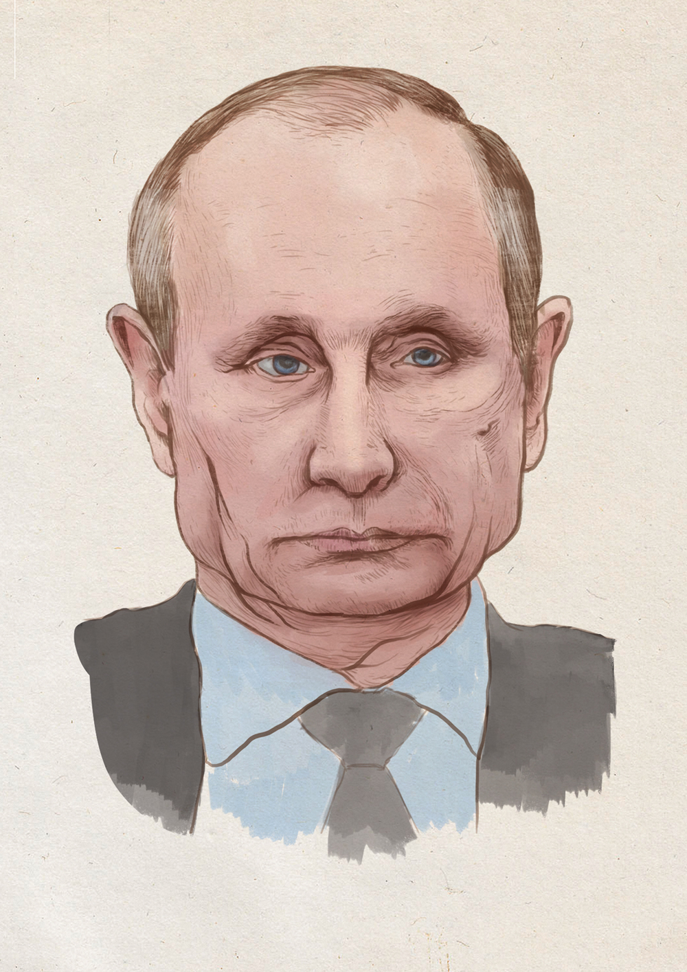 Colour sketch and study for Putin illustration, arguably a finished piece in itself.