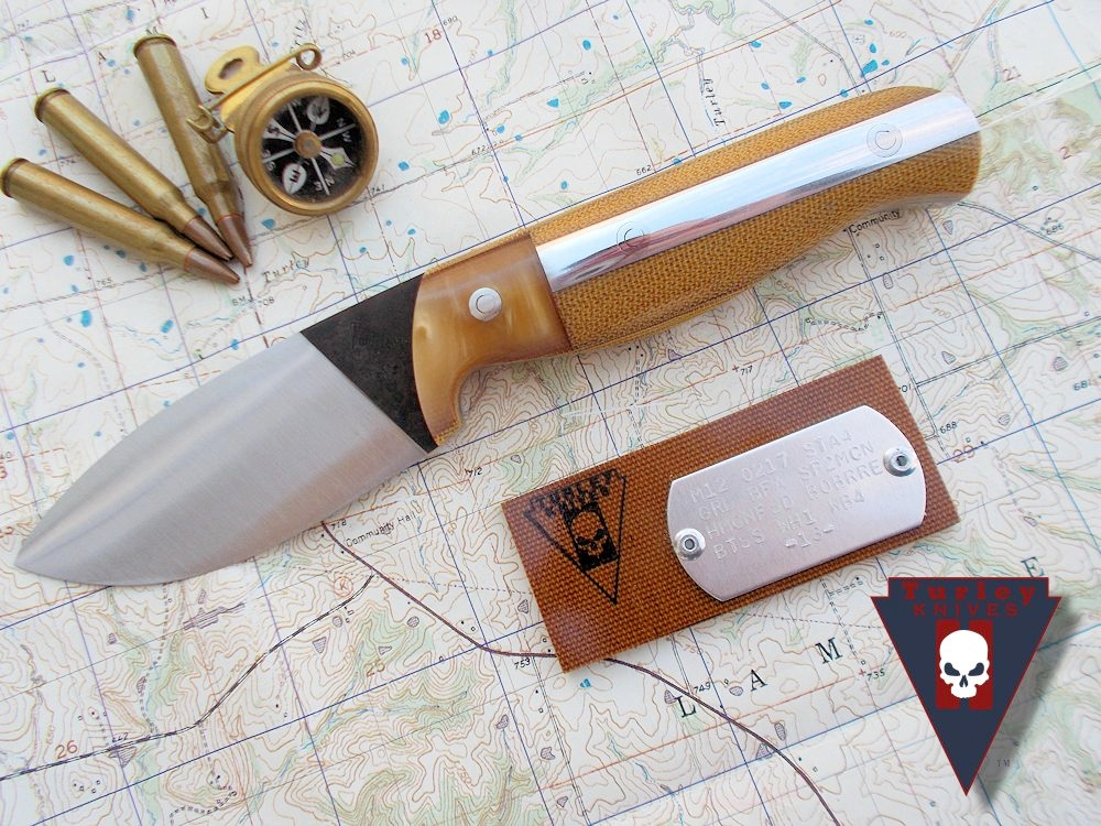 "M12 with full height grind, butterscotch resin bolsters, 1/8"" natural micarta spacers, natural canvas micarta scales, fleetside deluxe option-aluminum and stainless loveless bolts."