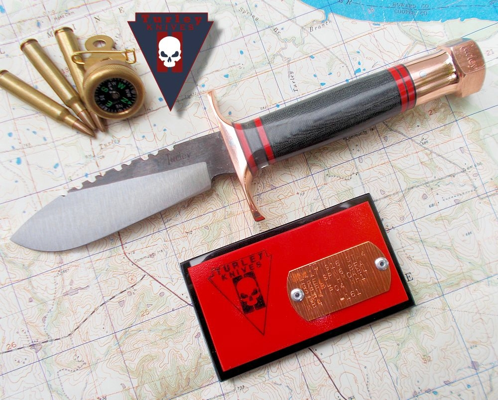 M14 Thunderbolt with M17 All American blade. Varied grind, saw teeth, double copper guard, red-black spacers, Hellcat cockpit spacer, black canvas micarta handle, copper bolt pommel