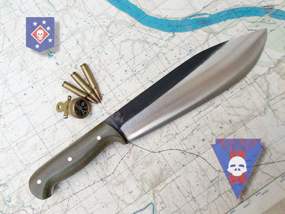 "M18 Raider heavy machete, 1/4"" 5160 spring steel, varied grind, od canvas micarta scales, copper pins"