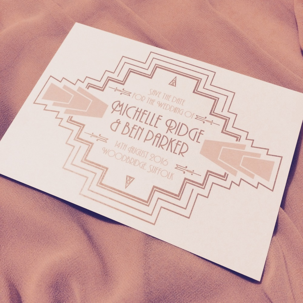 Art Deco themed save the date card in nude & gold