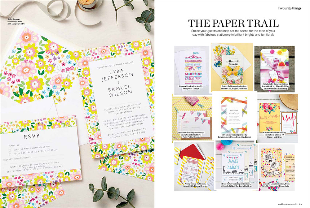 Wedding venues and services magazine, the paper trail stationery feature