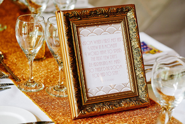 '1920's Art Deco' Great Gatsby table quote prints