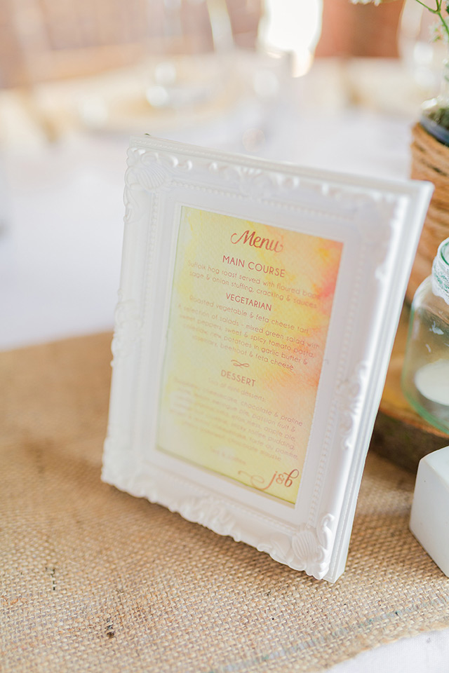 'Ombre Watercolour' framed table menus