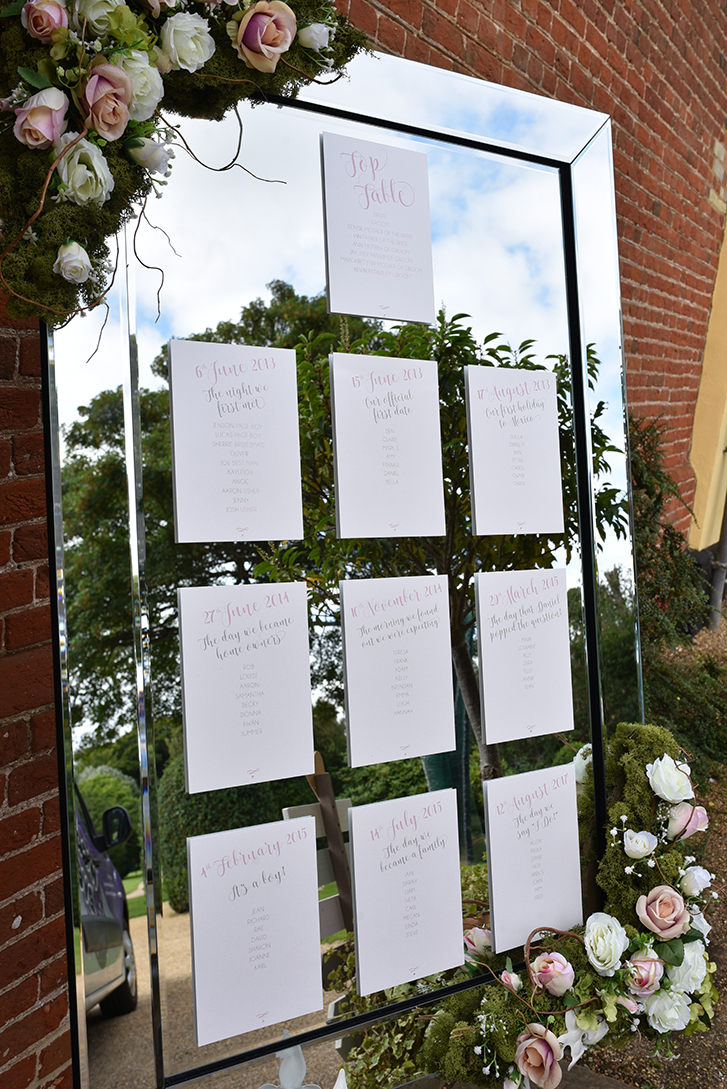 'Understated Elegance' personalised table plan cards