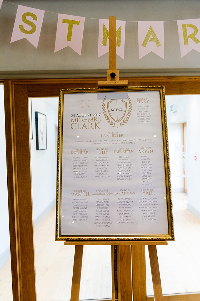 Large bespoke Game of Thrones themed table plan framed in ornate gold