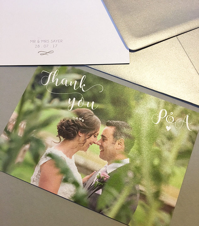 'Understated Elegance' personalised thank you postcards