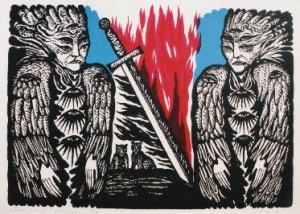 Jüri  Arrak   Sentinels guarding Eden ~Eedeni Valvurid Silkscreen  1990 56 cm x 40 cm