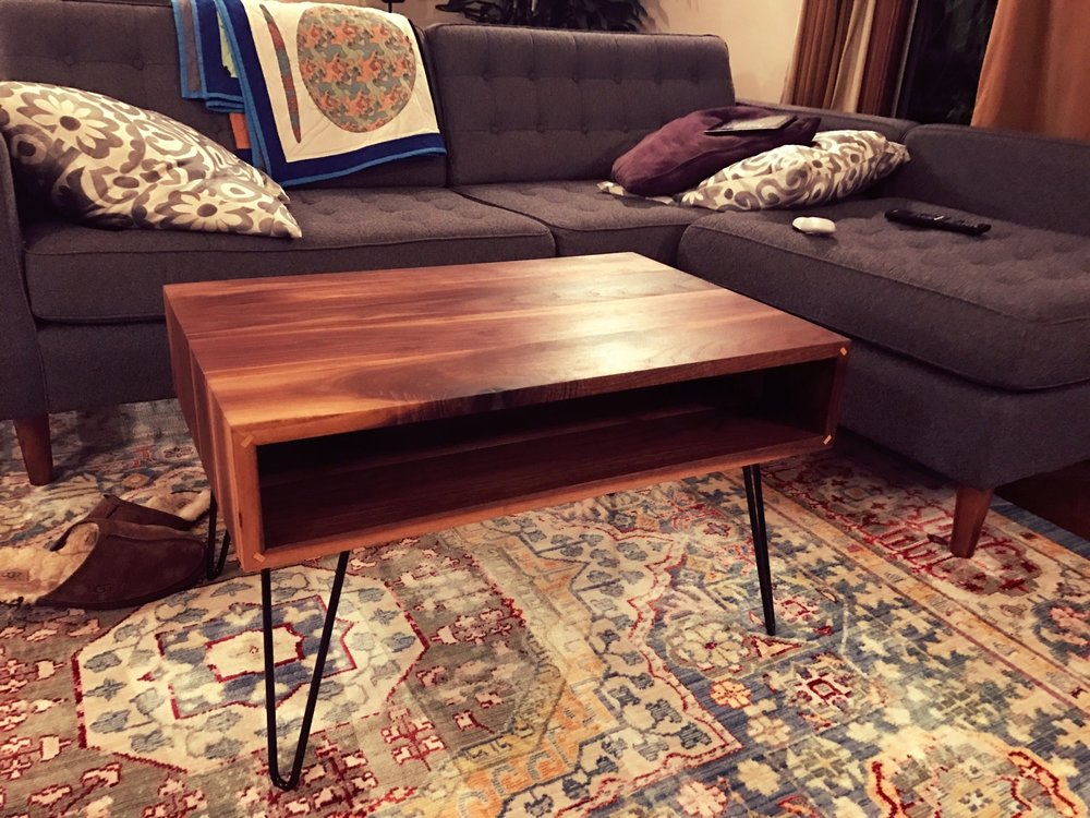 Custom Waterfall Mid-Century Modern Coffee Table