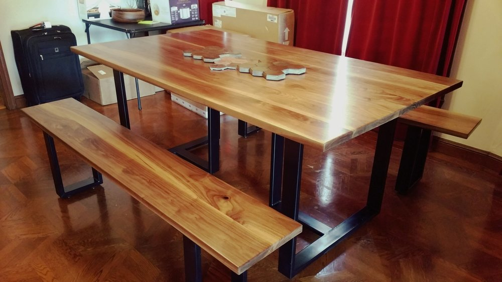 Custom Design Dining Table And Benches