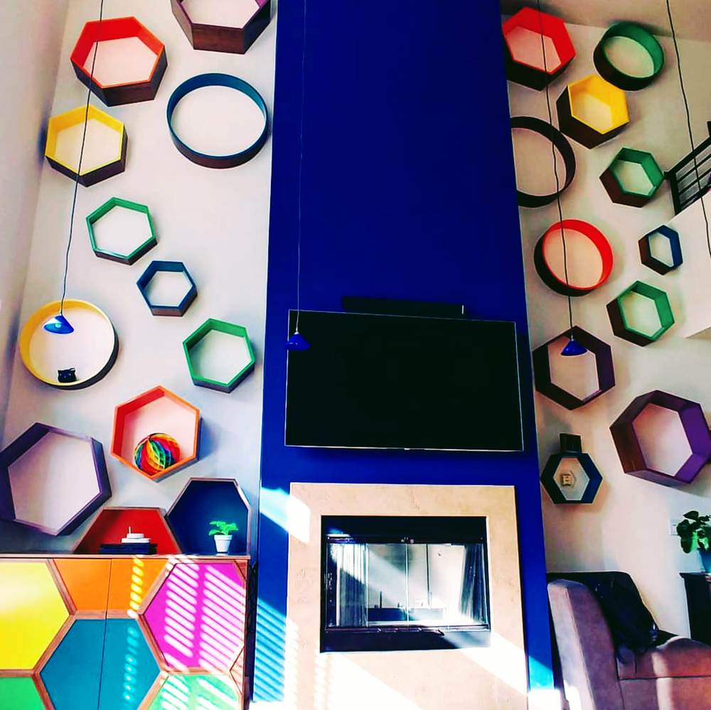 Floating Hexagon and Circle Shelves -