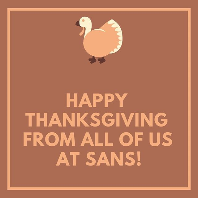 Happy Thanksgiving from all of us at SANS!