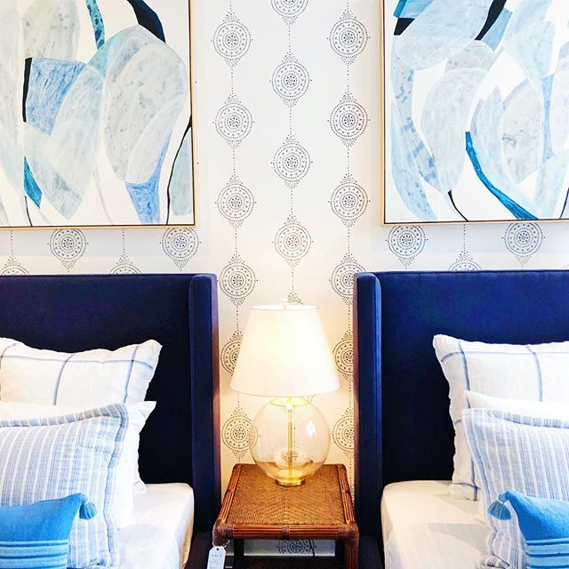 I think I'll lounge here for the night after the super bowl. Pass the chips and salsa! @serenaandlily #blueandwhite #blueandwhitedecor #twinbeds #patternlove #serenaandlily