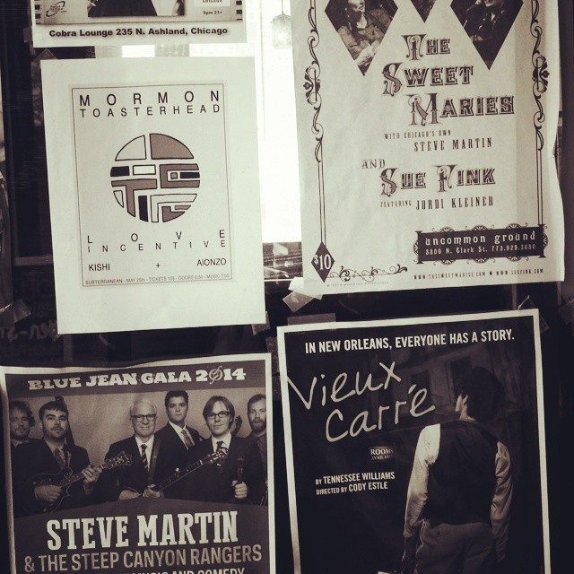 "Spotted a poster for another Steve Martin right near ours! How many Steve Martins are there?! Join us tonight to hear ""Chicago's"" Steve Martin on banjo and trumpet with Amy and Susie, along with Sue Fink with Jordi Kleiner at 7pm. Call ahead! #thesweetmaries #uncommonground #suefink #banjo"