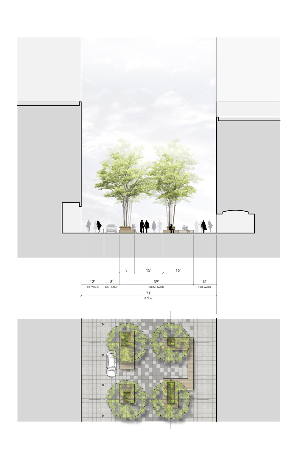 Cross section of block design of NoMad Walk along Broadway, drawing by Dutton Architects