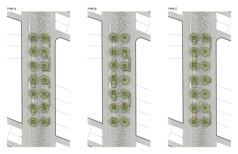 Block design variations of NoMad Walk along Broadway, drawing by Dutton Architects