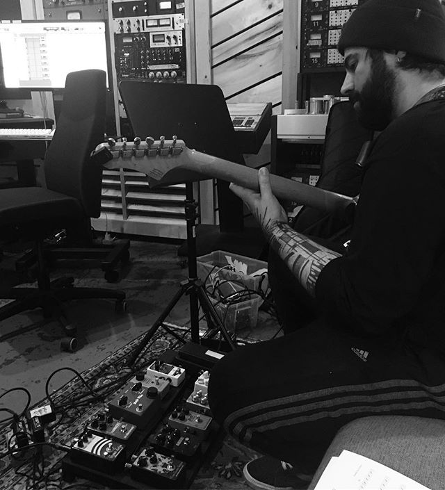 Tracking at @bunkerstudio yesterday w Adam Agati. #latergram #guitar #pedals #musician #recordingstudio