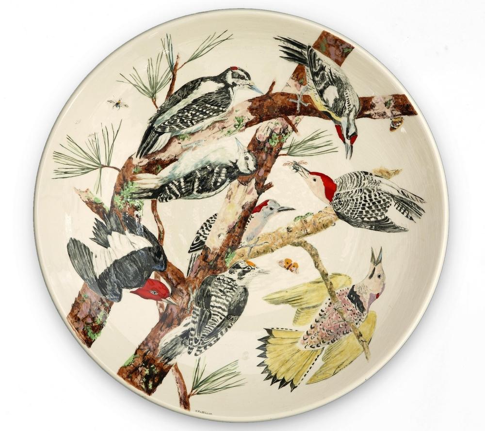 Woodpeckers, glazed porcelain plate, 19 inch diameter