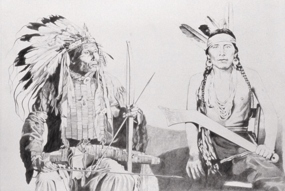 Two Northern Lakota, graphite on Arches, 29 x 39 inches  Private collection, Ellensburg, Washington