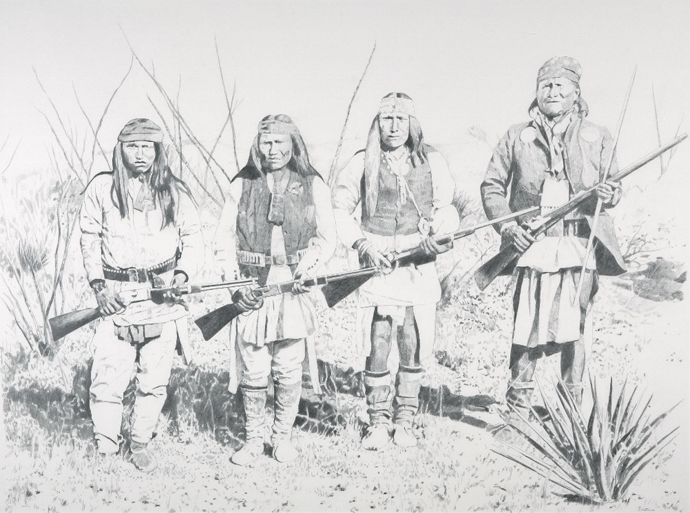 Chiricahua, Apache; after an S. Fly photo, graphite on Arches paper, 38 x 50 inches