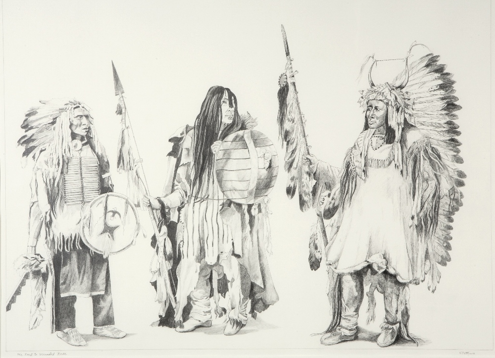 On the Road to Wounded Knee, graphite on Arches paper, 22 x 29 inches