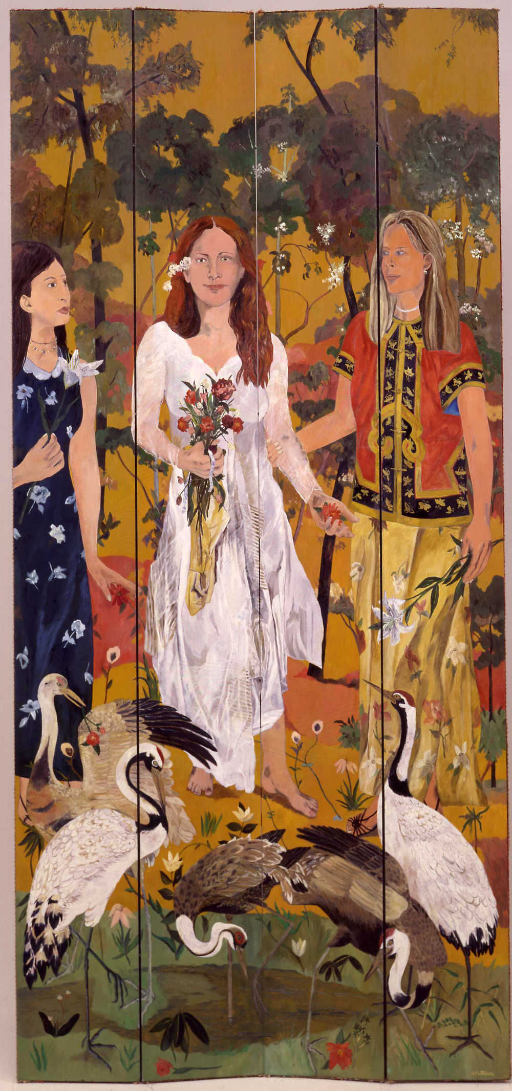 Entry of the Bride, oil on wood screen panels, 96 x 44 inches
