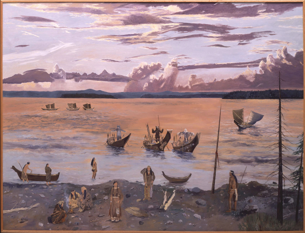 Return of the Coast Salish, oil on canvas, 72 x 96 inches  Collection of the Whatcom Museum, Bellingham, Washington
