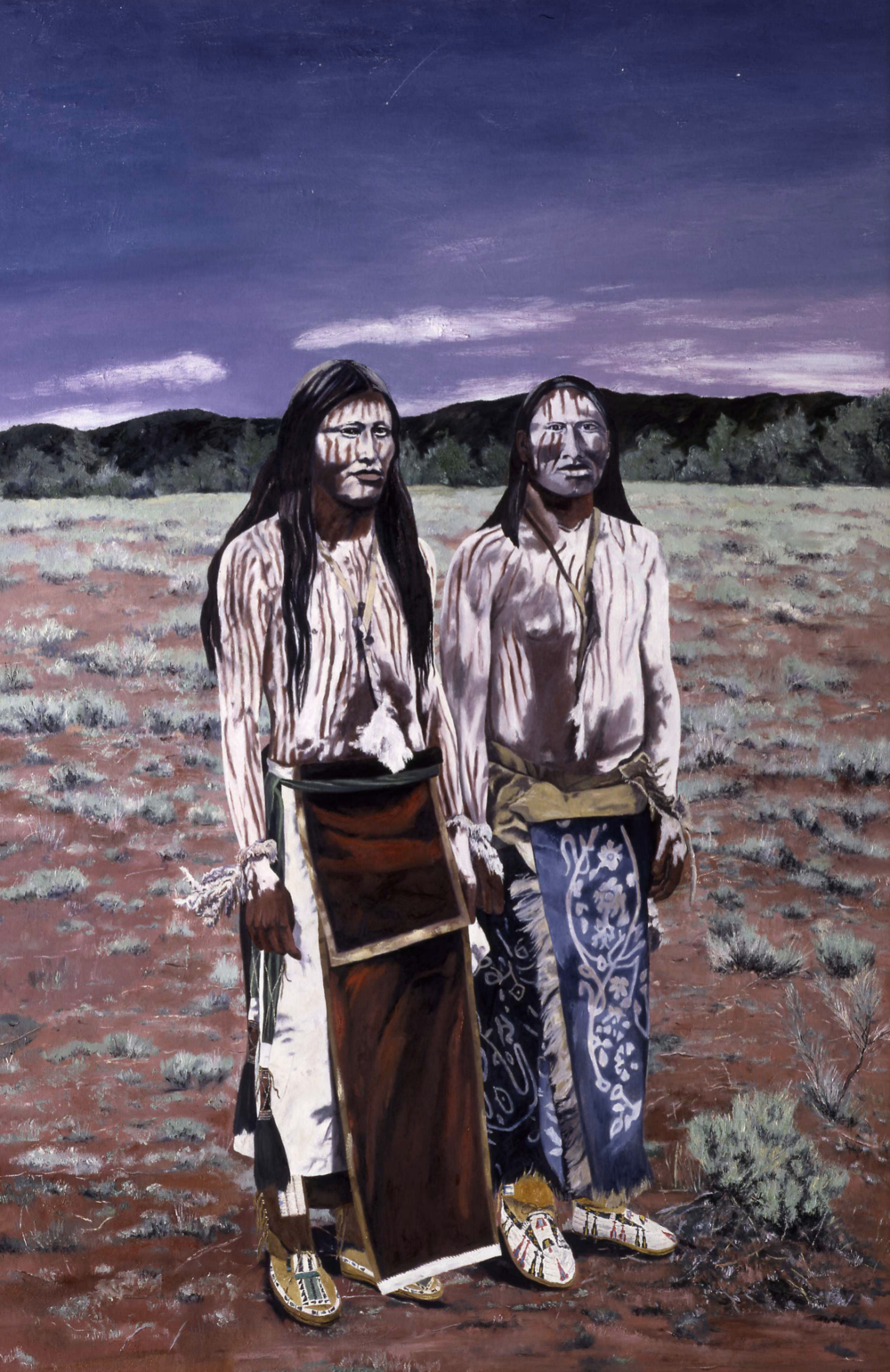 Cheyenne Sun Dance Pledgers, after E. Curtis, oil on canvas, 71 x 47 inches